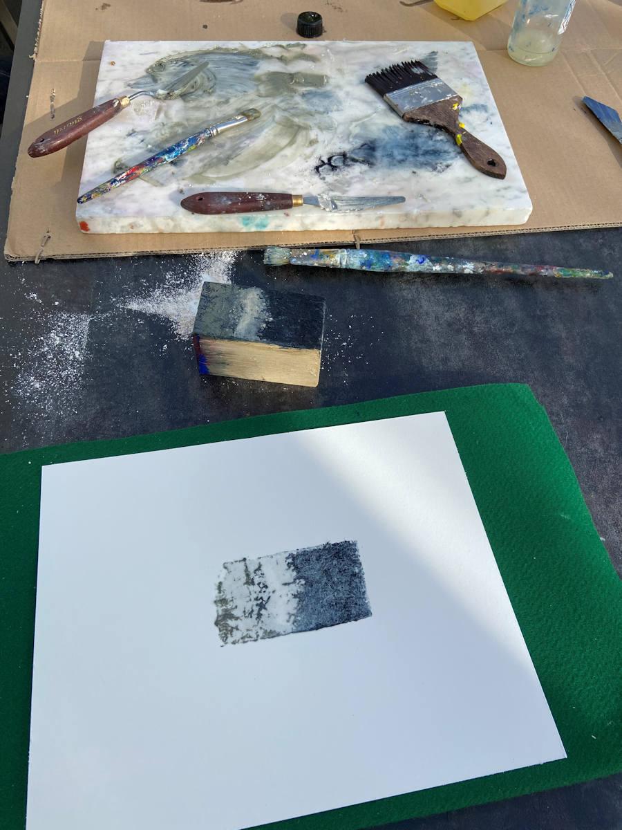 Making-off Monotypie von Eva Doelker-Heim